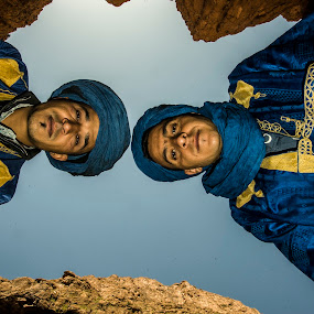 2 Tuareg  in todra gorge  by Allal Fadili - Uncategorized All Uncategorized ( tinghir, todra, sahara, people, portrait, todgha, dessert, maroc )