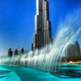The Fountain Show @ The Burj Khalifa by Darren Tan - Landscapes Waterscapes ( water, dubai, fountain, burj khalifa )