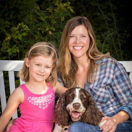 by Myra Brizendine Wilson - People Family ( child, canine, girl, dogs, female, canines, woman, pet, pets, dog )