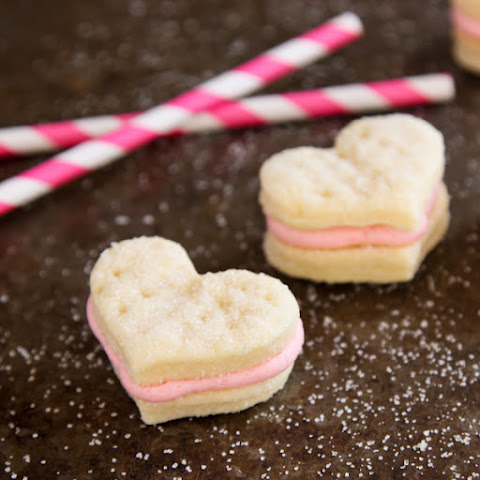 Cream Wafer Sandwich Cookies with Strawberry Buttercream