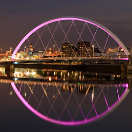 Arc Bridge, River Clyde by Iain Cathro - Buildings & Architecture Bridges & Suspended Structures ( scotland, crossing, night photography, clyde, arch, solour, road, bridge, river )
