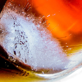 Icy Perspective by Yi Xuan Lee - Artistic Objects Other Objects ( orange, cracks, ice cube, brown, drinks )