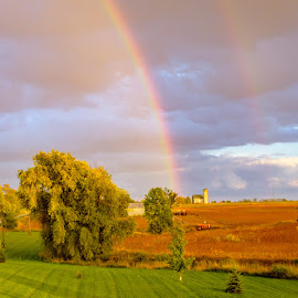 by Wilma Michel - Landscapes Weather ( clouds, double rainbow, rainbows, crops, farmland, storm )