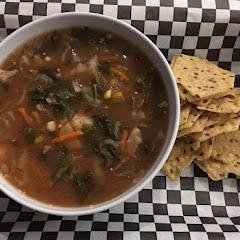 Hearty Vegetable Soup (GF, Vegetarian) with GF Taste So Good Multigrain Crackers.