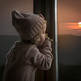 Pondering by Una Williams Photos - Babies & Children Children Candids ( child, girl, sunset, family, childhood )