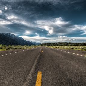 The Road Ahead by Christian Skilbeck - Landscapes Travel ( national park, mountains, sky, forrest, nature, cloudscape, road, landscape, woods, tetons )