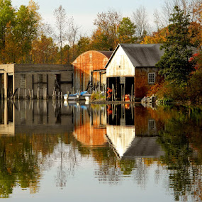 Dry Docks on Chautauqua Lake. by Darcie Wright - Landscapes Waterscapes