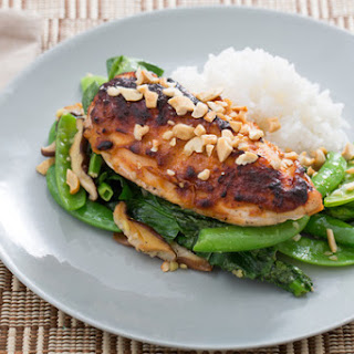 Miso-Roasted Chicken with Sugar Snap Peas, Snow Peas & Jasmine Rice