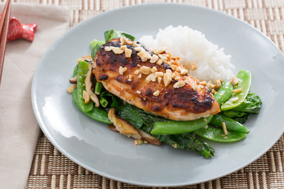 Miso-Roasted Chicken with Sugar Snap Peas, Snow Peas & Jasmine Rice ...