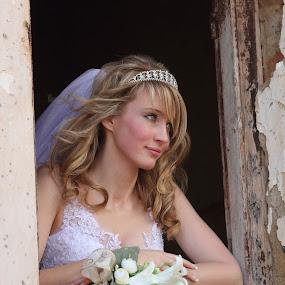 At the window by Johan Niemand - Wedding Bride ( window, wedding, dress, bride, flowers, wall )