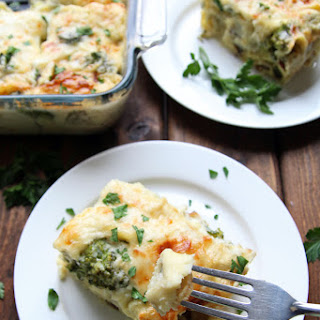 Baked Tortellini + Broccoli with Creamy Cauliflower Sauce