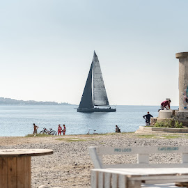 By the seaside by Maurizio Tuccio - City,  Street & Park  Vistas ( urban exploration, tower, fall, sea, beach, view, seaside, boat )