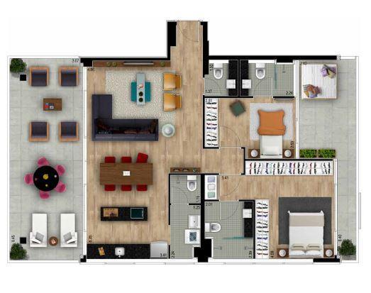 Planta apto 22 - 56 m²