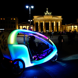 Bicycle taxi in Berlin by Kjeld Olsen - Transportation Bicycles ( night, tourism, transportation, historical site, brandenburger tor, bike taxi )