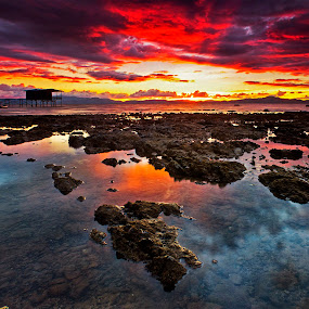 burst of colors by Macbrian Mun - Landscapes Waterscapes ( colour, reflection, sky, waterscape, sunset, colors, malaysia, beach, landscape, rocks, sabah )