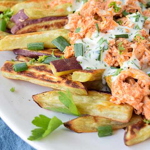 Buffalo Chicken Smothered Sweet Potato Fries