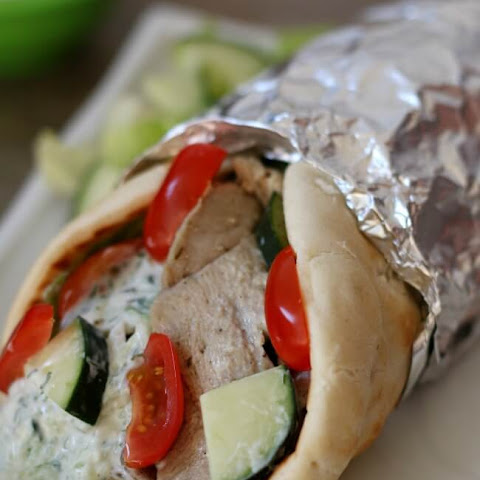 Slow Cooker Pork Gyros with Cucumber Yogurt Sauce