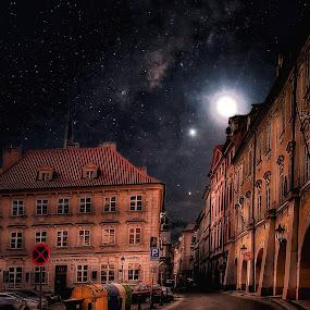 Night in Prague. by Gene Brumer - City,  Street & Park  Night ( night, prague )
