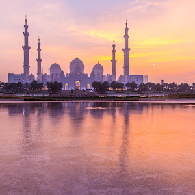 Sheikh Zayed Grand Mosque by Adam dela Pedra - Buildings & Architecture Places of Worship ( sunset, mosque, reflections, landscape, worship )