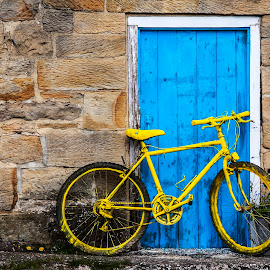 Tour de Yorkshire by Martin Davis - Transportation Bicycles ( doorway, bike, blue, door, yellow, parked, bicycle )