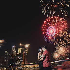 love in fireworks by Sigit Prasetio - People Couples