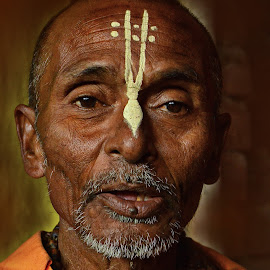conscious orator  by Arnab Bhattacharyya - People Portraits of Men ( saffron, monk, sage, india )