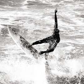 Surfing in SA by Michael Roselt - Sports & Fitness Surfing ( water, blackandwhite, surfer, wave, trick )