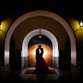 Kiss Me Slowly by Enrief Potreto - Wedding Bride & Groom ( wedding photography, warm, silhouette, beautiful, romantic, people, romance, portrait, couples, love, kiss, prewedding, wedding, dramatic, couple )