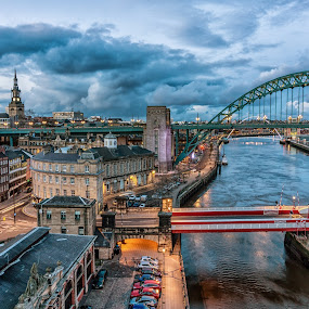 Newcastle Quayside by Adam Lang - Buildings & Architecture Bridges & Suspended Structures ( tyne, blue hour, quayside, newcastle, river,  )
