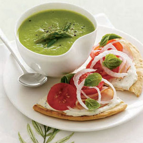 Asparagus Soup with Turkey and Tomato Tarts