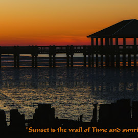 Pier Sunrise by Dave Walters - Typography Quotes & Sentences ( nature, colors, low tide, typography, lumix fz2500, sonrise )