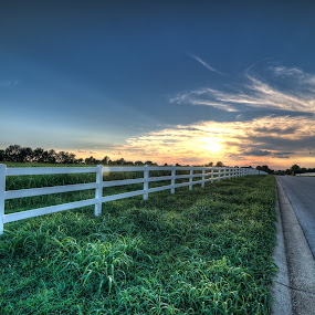 No Sunsets left behind by Michael  Kitchen - Landscapes Sunsets & Sunrises ( clouds, orange, hdr, green, white, yellow, road, wide, angle, fence, frame, sky, blue, full, sunset, cloud, nikon, tokina, evening, sidewalk )