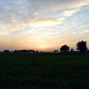 Sunset by Tahir Sultan - Landscapes Sunsets & Sunrises ( #clouds, #sunset, #blueskys, #punjab, #pakistan,  )
