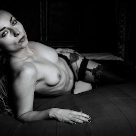 Nadia by Paul Phull - Nudes & Boudoir Boudoir ( blonde, sexy, topless, black and white, boudoir )