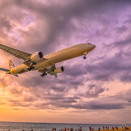 landing time by Kitty Bern - Transportation Airplanes ( sunset, airplane, thailand, phuket, beach )