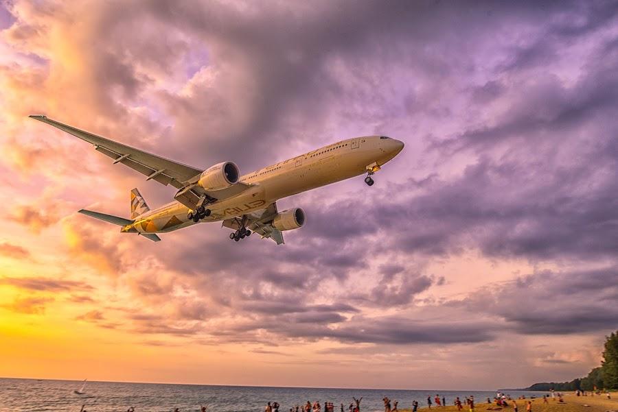 landing time by Kitty Bern - Transportation Airplanes ( sunset, airplane, thailand, phuket, beach )