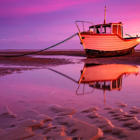 Sunrise reflections by Andy Young - Landscapes Sunsets & Sunrises ( the wirral, merseyside, meols beech, sky, silhouette, reflections, sea, sunrise, seaside, beech )