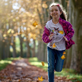 Runaway by Jiri Cetkovsky - Babies & Children Child Portraits ( girl, autumn, runaway, run, portrait )