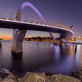 Bridge over calm Waters by Tony Burnard - Buildings & Architecture Bridges & Suspended Structures ( water, sunset, night, bridge, light )