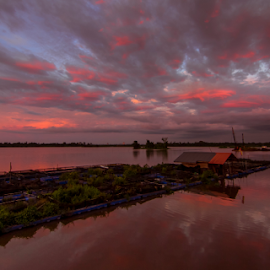 Floating fish farm by Victor Sim - Landscapes Sunsets & Sunrises ( clouds, sky, sunset, beautiful, reflections, evening, river )