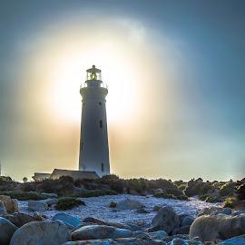 Cape St Francis Lighthouse by Cindy Bester - Buildings & Architecture Public & Historical ( sky, lighthouse, beach, rocks, sun )