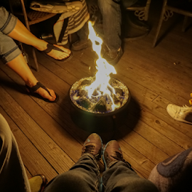 First spring fire by Lisa Hansen - People Body Parts ( shoes, friends, feet, campfire, fire )