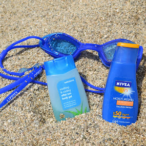 Summer Essentials by Anjsh Lacanlale - Products & Objects Healthcare Objects ( blue, lotion, summer, beach, sunblock )