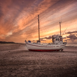 Nordvest by Ole Steffensen - Transportation Boats ( nordvest, jammerbugten, slettestrand, ship, sunset, beach, denmark, boat, fishing vessel )