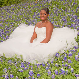 Bluebonnet Bride by Matthew Chambers - Wedding Bride ( african american bride, bridal, matthew chambers photography, bride, bluebonnets, bluebonnet )