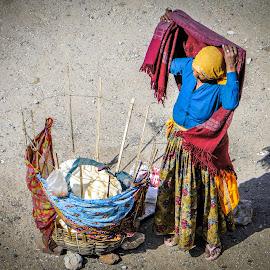 Dinner by Karin Wollina - People Portraits of Women ( jaipur, woman, rajasthan, street, india,  )