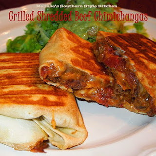 Grilled Shredded Beef Chimichangas