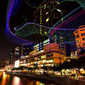 Flying Colorful Lights @Clarke Quay by Lye Danny - City,  Street & Park  Historic Districts