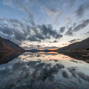 Sunset waterscape by Benny Høynes - Landscapes Waterscapes ( water, mountains, waterscape, sunset, reflections, norway )