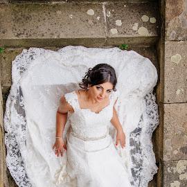 Bride 2 by Bugarin Dejan - Wedding Bride ( make up, stairs, wedding, beautiful, white, stone, wedding dress, smile, bride, hair, portrait )